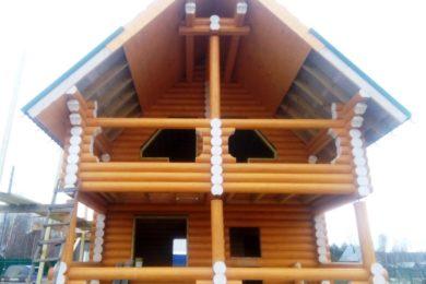 Дом-баня 6х8 из оцилиндрованного бревна